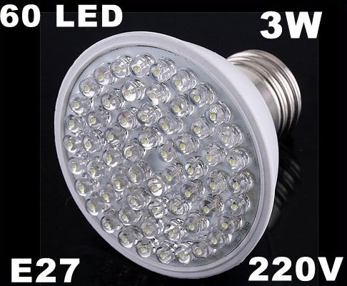 Ultra Bright 212LM 220V 3W E27 60 LED White Light Bulb Lamp  20pcs/lot  Free Shipping