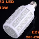 E27 13W 200-230V 263 LED 1050LM Cold White Corn Light Bulb  5pcs/lot  Free Shipping