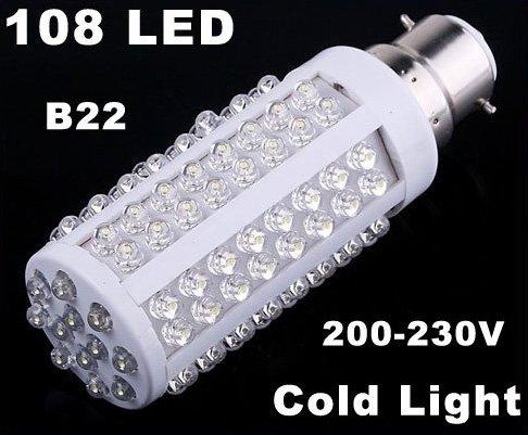 220V Bulb B22 5W 450LM Cold Light 108 LED Corn Light  10pcs/lot  Free Shipping