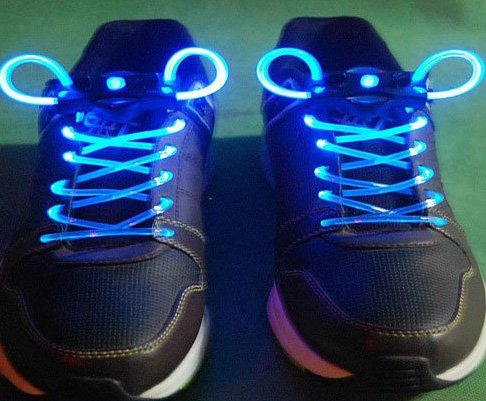 Blue LED Light Up Shoes shoelaces Luminous shoestring 5sets/lot Free Shipping