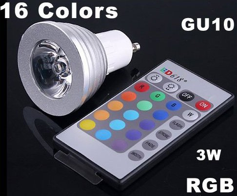 3W Energy-saving 16 Colors GU10 RGB LED Light with Remote Control  5pcs/lot  Free Shipping