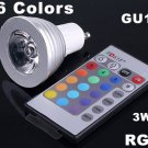 3W Energy-saving 16 Colors GU10 RGB LED Light with Remote Control  5pcs/lot  Free Shipping