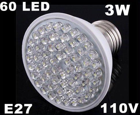 Ultra Bright 212LM 110V 3W E27 60 LED White Light Bulb Lamp  Free Shipping