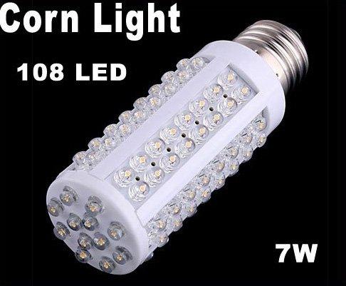 108 LED E27 Screw Corn Light Bulb 7W Warm Light  Free Shipping