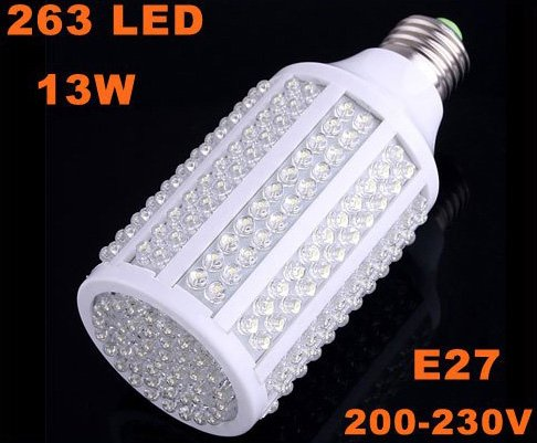 E27 13W 200-230V 263 LED 1050LM Cold White Corn Light Bulb  Free Shipping  Wholesale/Retail