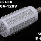 E14 Screw 5W 110V 108 Cold White LED Corn Light  5pcs/lot  Free Shipping