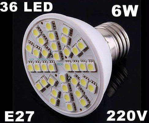 Ultra Bright 220V 6W E27 36 LED Light Bulb Lamp  30pcs/lot  Free Shipping