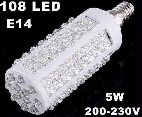 200-230V 5W 108 LEDs E14 Screw Corn Light  LED Lights  LED Bulb