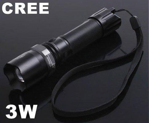 3W Adjustable Focus CREE Q5 Chargeable LED Flashlight  LED Torch  CREE LED Flashlight