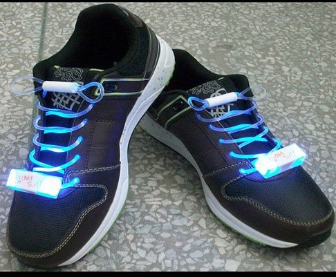 LED Light Up Shoelaces Flash Shoestrings Blue  10sets/lot  Free Shipping