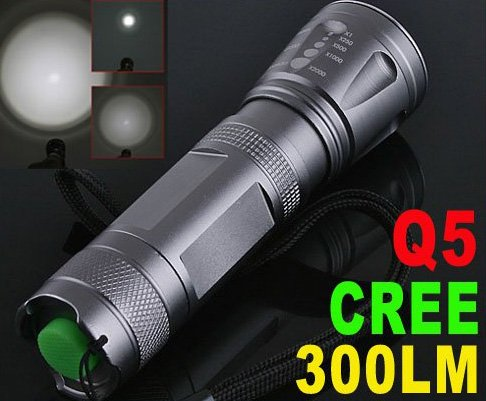 300 Lumens Adjustable Focusable CREE Q5 LED Waterproof  Torch Flashlight  5pcs/lot  Free Shipping