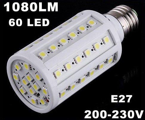 1080LM 200-230V 60 LED  E27 Cold White Corn Light  LED Bulb Light  5pcs/lot