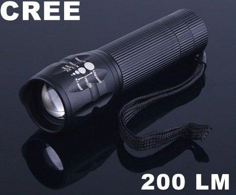 3 Modes Zoomable CREE 200 Lumen LED Flashlight  LED Torch  10pcs/lot