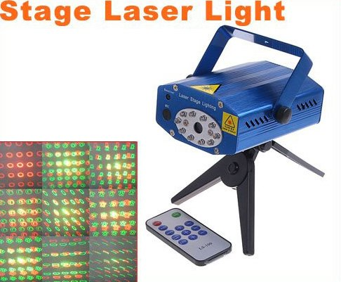 Multicolor Moving Party Stage Laser Light Projector with Remote  Free Shipping