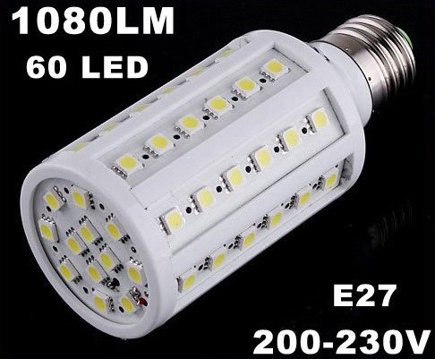 1080LM 200-230V 60 LED SMD E27 Cold White Corn Light LED Bulb  10pcs/lot  Free Shipping