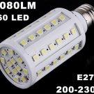 1080LM 200-230V 60 LED SMD E27 Cold White Corn Light LED Bulb  10pcs/lot  Free Shipping