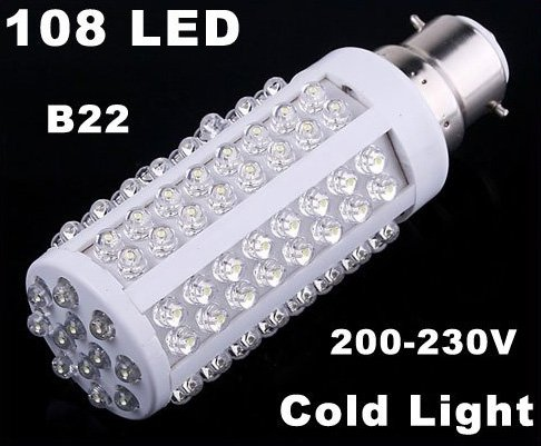 220V Bulb B22 5W 450LM Cold Light 108 LED Corn Light  20pcs/lot  Wholesale