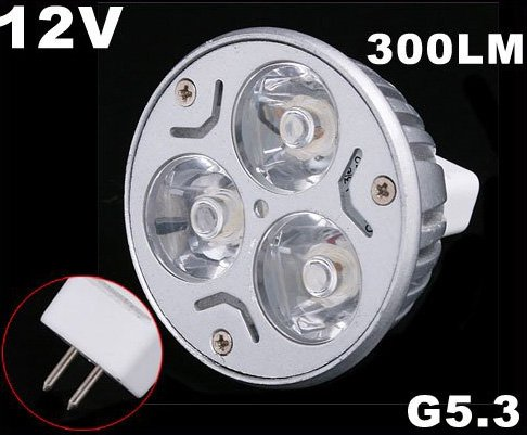 Energy G5.3 3*1W 12V Warm White LED Light Lamp Bulb  Free Shipping