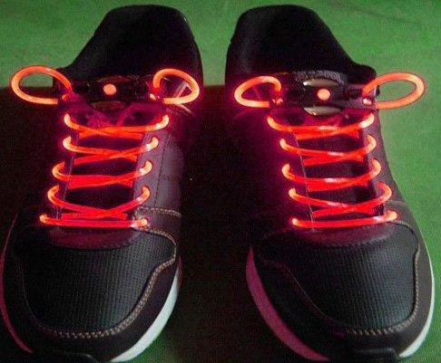 Red LED Light Up Shoes shoelaces Luminous shoestring Flash Glow Stick  5sets/lot  Free Shipping