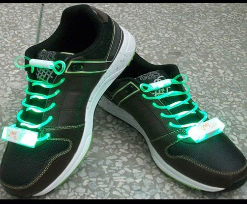 LED Light Up Shoelaces Flash Shoestrings Green  5sets/lot  Free Shipping