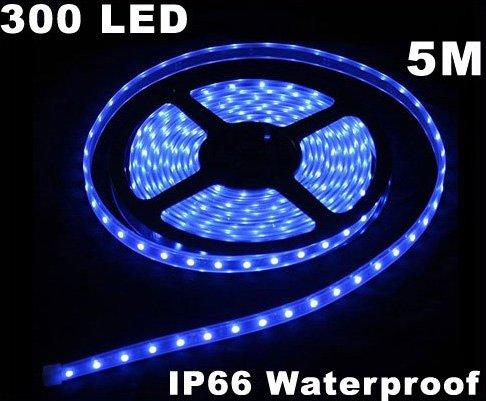 Blue IP66 Waterproof 5M SMD 3528 300 LED Strip Light  5pcs/lot  Free Shipping
