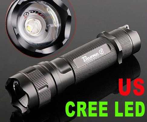 135LM Focusable Waterproof CREE LED Flashlight  LED Torch Flashlight  5pcs/lot