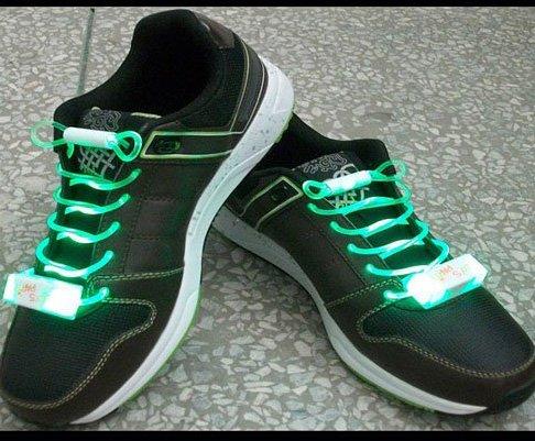 LED Light Up Shoelaces Flash Shoestrings Green  10sets/lot  Free Shipping