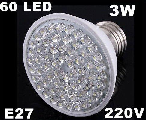 Ultra Bright 212LM 220V 3W E27 60 LED White Light Bulb Lamp  50pcs/lot  Free Shipping