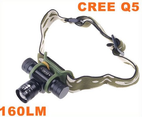 Adjustable Focus Beam CREE Q5 LED Torch Light Flashlight Headlamp 10pcs/lot