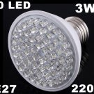 Ultra Bright 212LM 220V 3W E27 60 LED White Light Bulb Lamp  50pcs/lot  Free Shipping