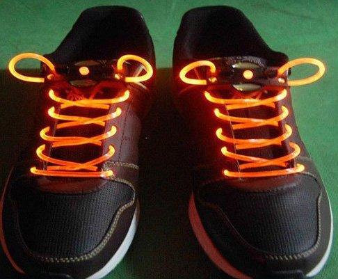 Orange LED Light Up Shoes shoelaces Luminous shoestring Flash Glow Stick  5sets/lot  Free Shipping