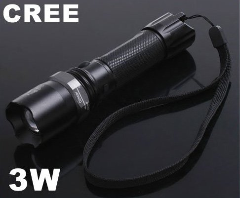 3W Adjustable Focus CREE Q5 Chargeable LED Flashlight  LED Torch  Cree Flashlight
