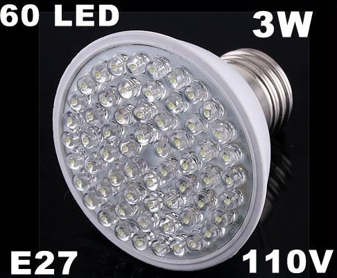 Ultra Bright 212LM 110V 3W E27 60 LED White Light Bulb Lamp  50pcs/lot  Free Shipping