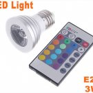 IR Remote Control E27 3W 16-Color RGB LED Bulb Light  10pcs/lot  Free Shipping