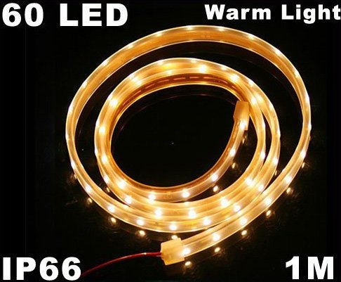 Warm White Light IP66 Waterproof 1M SMD 3528 60 LED Strip Light  10pcs/lot  Free Shipping