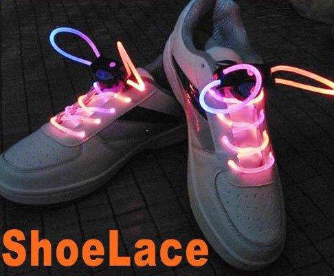 Colorful LED Light Up Shoes shoelaces Luminous shoestring Flash Glow Stick  5sets/lot  Free Shipping