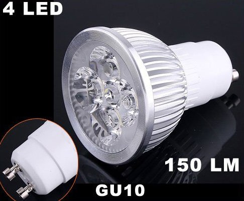 Energy-saving 150LM GU10 4 LED Light Bulb 4W Cold White 85-265V LED Light  Free Shipping  Retail