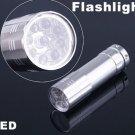 Silver 9 LED Flashlight Aluminium LED Torch Camping Flashlight  30pcs/lot  Free Shipping