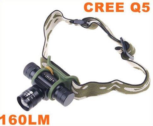Adjustable Focus Beam CREE Q5 LED Headlamp Light Flashlight Torch  5pcs/lot  Free Shipping
