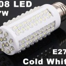 7W 108 LEDs E27 Cold White Bulb Lamp Corn Light  20pcs/lot  Free Shipping