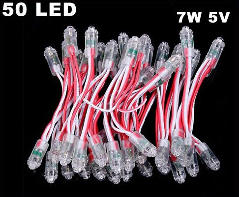 7W 5V LED Red Light Wire Harness for Decoration Advertisement  5pcs/lot  Free Shipping