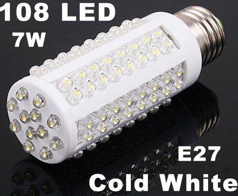 7W  108 LEDs E27 Cold White Bulb Lamp Corn Light  10pcs/lot  Free Shipping