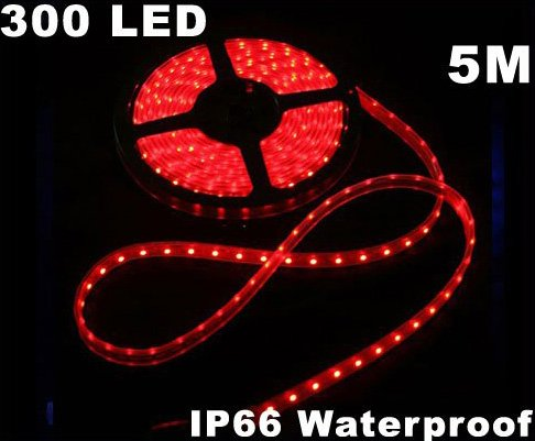Red IP66 Waterproof 5M SMD 3528 300 LED LED Strip Light  Free Shipping  Retail