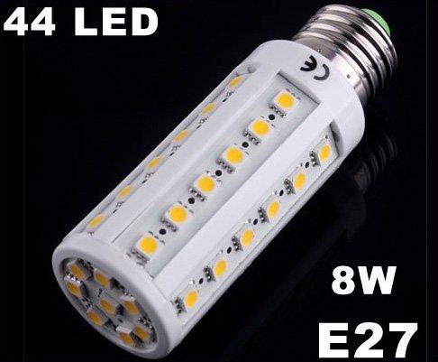 Bright 8W E27 44 LED Warm Light SMD Corn Light Bulb Lamp  10pcs/lot  Free Shipping