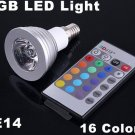 3W Energy-saving Remote Control  RGB E14 LED Light Bulb  Free Shipping  Retail