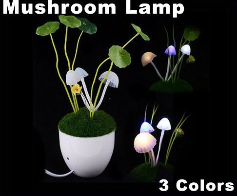 Romantic LED Avatar Mushroom Light With Light Sensitivity Function  Free Shipping