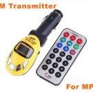 Usb Car FM Transmitter for Car MP3 with FM modulator SD MMC SLOT Yellow 5pcs/lot