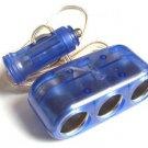 Cool design 3-Way 12V Car Cigarette Socket car Adapter/ car Splitter/car Charger Free Shipping