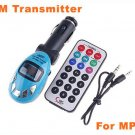 Best Usb Car FM Transmitter for Car MP3 with SD MMC SLOT Blue 20pcs/lot