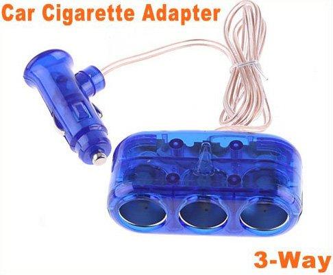 3-Way 12V Car Cigarette Socket car Adapter/ car Splitter/car Charger  8pcs/lot  Free Shipping